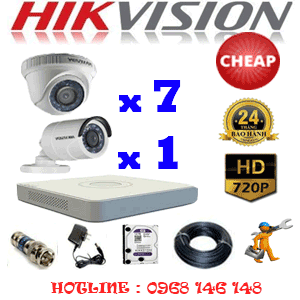 TRỌN BỘ 8 CAMERA CHEAP HIKVISION 1.0MP (HIK-17112C)-HIK-17112C