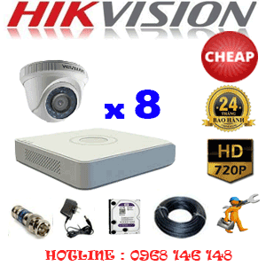 TRỌN BỘ 8 CAMERA CHEAP HIKVISION 1.0MP (HIK-18100C)-HIK-18100C