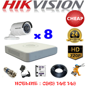 TRỌN BỘ 8 CAMERA CHEAP HIKVISION 1.0MP (HIK-18200C)-HIK-18200C