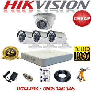 TRỌN BỘ 4 CAMERA CHEAP HIKVISION 2.0MP (HIK-21334C)-HIK-21334C
