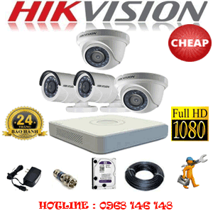 TRỌN BỘ 4 CAMERA CHEAP HIKVISION 2.0MP (HIK-22324C)-HIK-22324C
