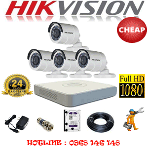 TRỌN BỘ 4 CAMERA CHEAP HIKVISION 2.0MP (HIK-24400C)-HIK-24400C