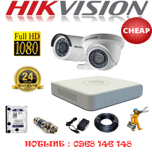 Lắp Đặt Trọn Bộ 2 Camera Hikvision 2.0Mp (Hik-21314C)-HIK-21314C