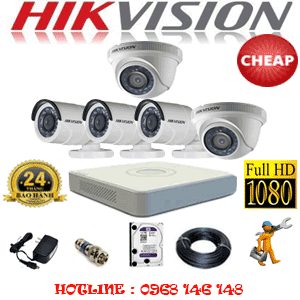 TRỌN BỘ 5 CAMERA CHEAP HIKVISION 2.0MP (HIK-22334C)-HIK-22334C