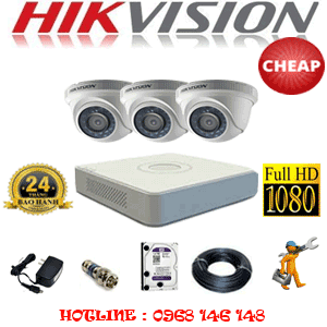 TRỌN BỘ 3 CAMERA CHEAP HIKVISION 2.0MP (HIK-23300C)-HIK-23300C