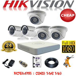 TRỌN BỘ 5 CAMERA CHEAP HIKVISION 2.0MP (HIK-23324C)-HIK-23324C