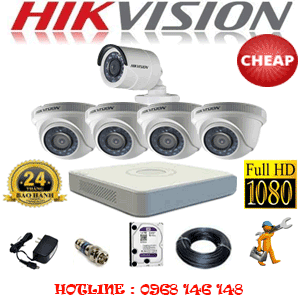 TRỌN BỘ 5 CAMERA CHEAP HIKVISION 2.0MP (HIK-24314C)-HIK-24314C