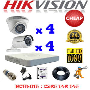 TRỌN BỘ 8 CAMERA CHEAP HIKVISION 2.0MP (HIK-24344C)-HIK-24344C