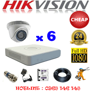 TRỌN BỘ 6 CAMERA CHEAP HIKVISION 2.0MP (HIK-26300C)-HIK-26300C