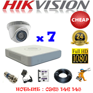 TRỌN BỘ 7 CAMERA CHEAP HIKVISION 2.0MP (HIK-27300C)-HIK-27300C