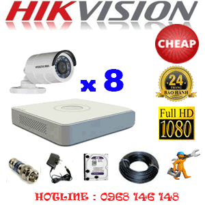 TRỌN BỘ 8 CAMERA CHEAP HIKVISION 2.0MP (HIK-28400C)-HIK-28400C