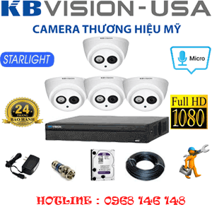 TRỌN BỘ 4 CAMERA KBVISION 2.0MP (KB-24700)-KB-24700