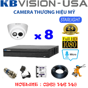 TRỌN BỘ 8 CAMERA KBVISION 2.0MP (KB-28700)-KB-28700