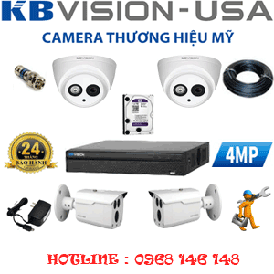 TRỌN BỘ 4 CAMERA KBVISION 4.0MP (KB-429210)-KB-429210