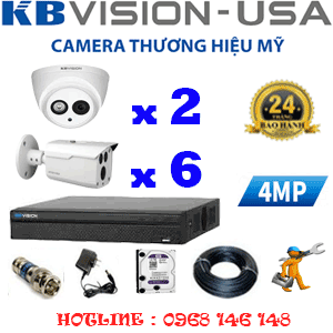 TRỌN BỘ 8 CAMERA KBVISION 4.0MP (KB-429610)-KB-429610