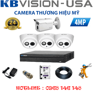 TRỌN BỘ 4 CAMERA KBVISION 4.0MP (KB-439110)-KB-439110