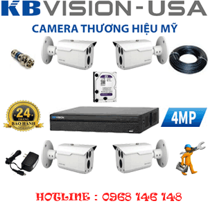 TRỌN BỘ 4 CAMERA KBVISION 4.0MP (KB-441000)-KB-441000