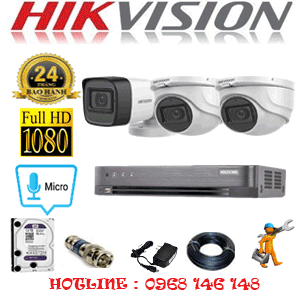 Lắp Đặt Trọn Bộ 3 Camera Hikvision 2.0Mp (Hik-2223124)-HIK-2223124