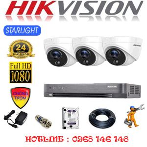 TRỌN BỘ 3 CAMERA HIKVISION 2.0MP (HIK-232100)-HIK-232100