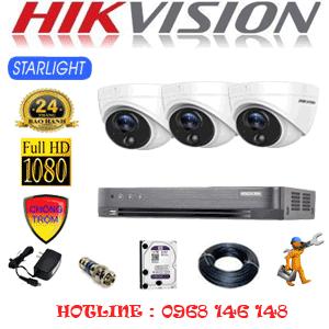 Lắp Đặt Trọn Bộ 3 Camera Hikvision 2.0Mp (Hik-232100)-HIK-232100