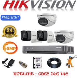 TRỌN BỘ 4 CAMERA HIKVISION 5.0MP (HIK-5219220)-HIK-5219220