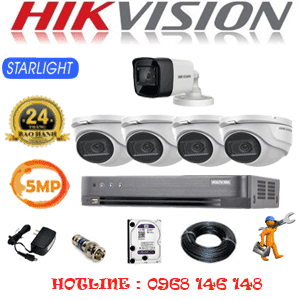 Lắp Đặt Trọn Bộ 5 Camera Hikvision 5.0Mp (Hik-5419120)-HIK-5419120