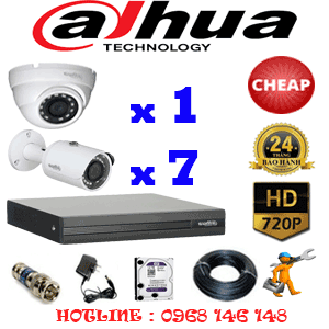 Lắp Đặt Trọn Bộ 8 Camera Dahua 1.0Mp (Dah-11172)-DAH-11172C