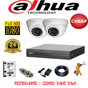 Lắp Đặt Trọn Bộ 2 Camera Dahua 2.0Mp Lite (Dah-22300)-DAH-22300C