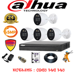 Lắp Đặt Trọn Bộ 4 Camera Dahua 5.0Mp (Dah-541400)-DAH-541400