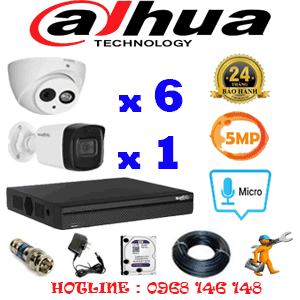 Lắp Đặt Trọn Bộ 7 Camera Dahua 5.0Mp (Dah-569110)-DAH-569110