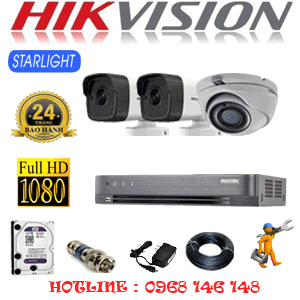 Lắp Đặt Trọn Bộ 3 Camera Hikvision 2.0Mp (Hik-2127228)-HIK-2127228