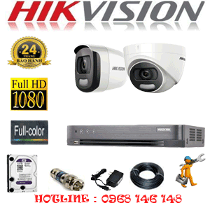 Lắp Đặt Trọn Bộ 2 Camera Hikvision 2.0Mp (Hik-21516)-HIK-21516
