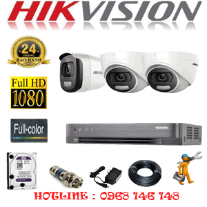 Lắp Đặt Trọn Bộ 3 Camera Hikvision 2.0Mp (Hik-22516)-HIK-22516