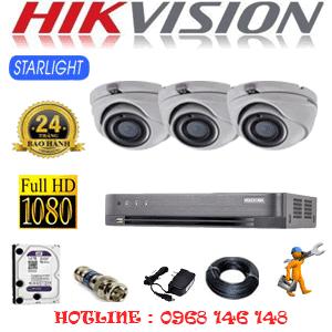 Lắp Đặt Trọn Bộ 3 Camera Hikvision 2.0Mp (Hik-232700)-HIK-232700