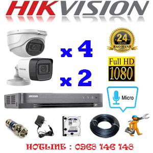 TRỌN BỘ 6 CAMERA HIKVISION 2.0MP (HIK-2423224)-HIK-2423224