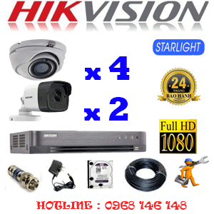 Lắp Đặt Trọn Bộ 6 Camera Hikvision 2.0Mp (Hik-2427228)-HIK-2427228