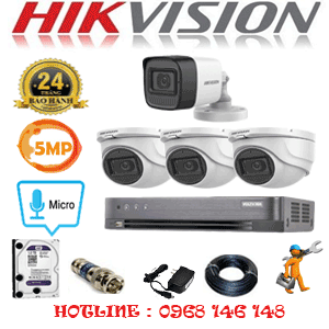 Lắp Đặt Trọn Bộ 4 Camera Hikvision 5.0Mp (Hik-5325126)-HIK-5325126