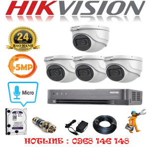 Trọn Bộ 4 Camera Hikvision 5.0Mp (Hik-542500)-HIK-542500