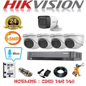 Lắp Đặt Trọn Bộ 5 Camera Hikvision 5.0Mp (Hik-5425126)-HIK-5425126