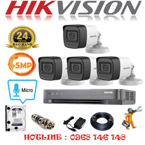 TRỌN BỘ 4 CAMERA HIKVISION 5.0MP (HIK-542600)-HIK-542600