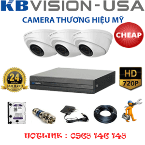 TRỌN BỘ 3 CAMERA KBVISON 1.0MP (KB-13100)-KB-13100C