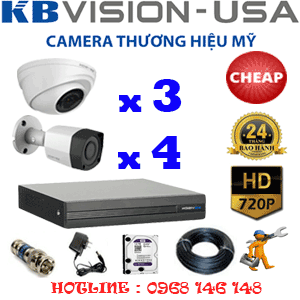 TRỌN BỘ 7 CAMERA KBVISION 1.0MP (KB-13142)-KB-13142C