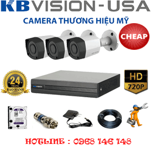 TRỌN BỘ 3 CAMERA KBVISON 1.0MP (KB-13200)-KB-13200C