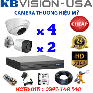 TRỌN BỘ 6 CAMERA KBVISION 1.0MP (KB-14122)-KB-14122C