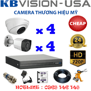 TRỌN BỘ 8 CAMERA KBVISION 1.0MP (KB-14142)-KB-14142C