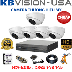 TRỌN BỘ 5 CAMERA KBVISION 1.0MP (KB-15100)-KB-15100C