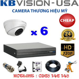 TRỌN BỘ 6 CAMERA KBVISION 1.0MP (KB-16100)-KB-16100C