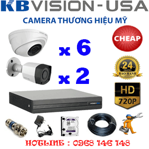 TRỌN BỘ 8 CAMERA KBVISION 1.0MP (KB-16122)-KB-16122C
