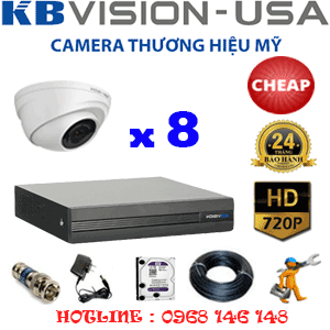 TRỌN BỘ 8 CAMERA KBVISON 1.0MP (KBV-18100)-KB-18100C
