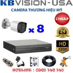 TRỌN BỘ 8 CAMERA KBVISION 1.0MP (KB-18200)-KB-18200C